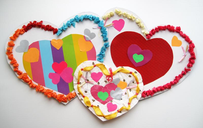 Поделки для детей своими руками сердечки 95