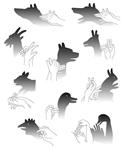 Схемы рук для изображения тени фигур животных