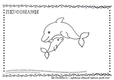 Раскраска Дельфины