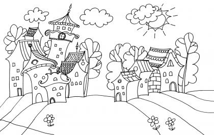 Раскраски пейзаж города 83