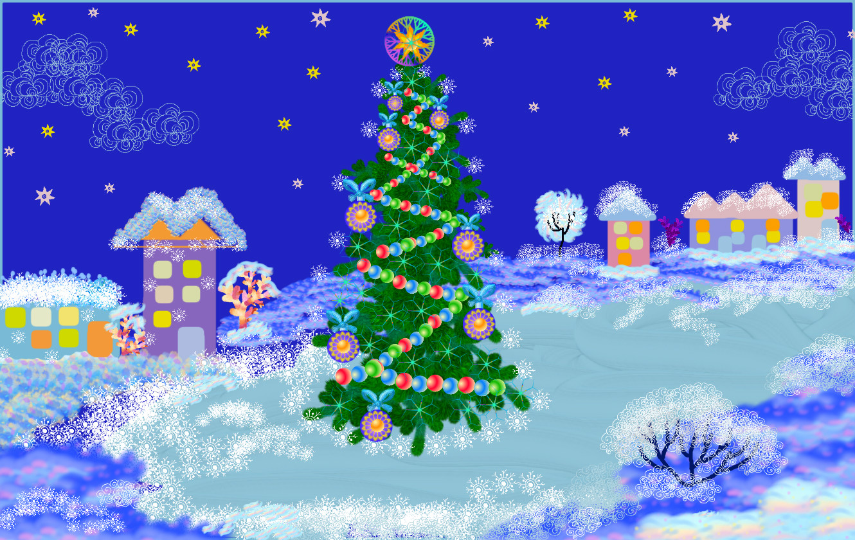 рисунок на тему зима и новый год