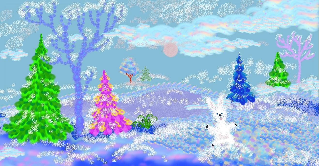 Картинки нарисованная карандашом детей зима в лесу